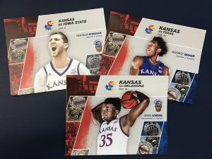 KU athletics post cards printed at Allen Press