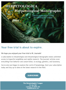 Herpetologica free trial email examples