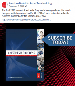 Anesthesia Progress journal social media post